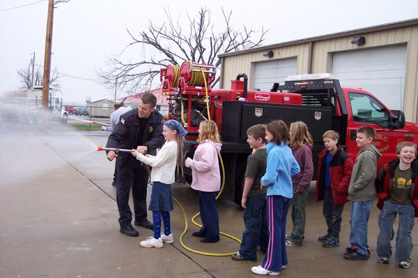 Students by Fire Truck